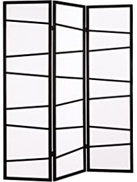 Roundhill Furniture 3 Panel Screen Room Divider, Black