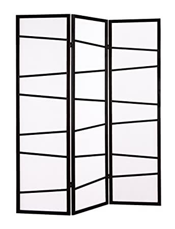 Roundhill Furniture 3 Panel Screen Room Divider Black