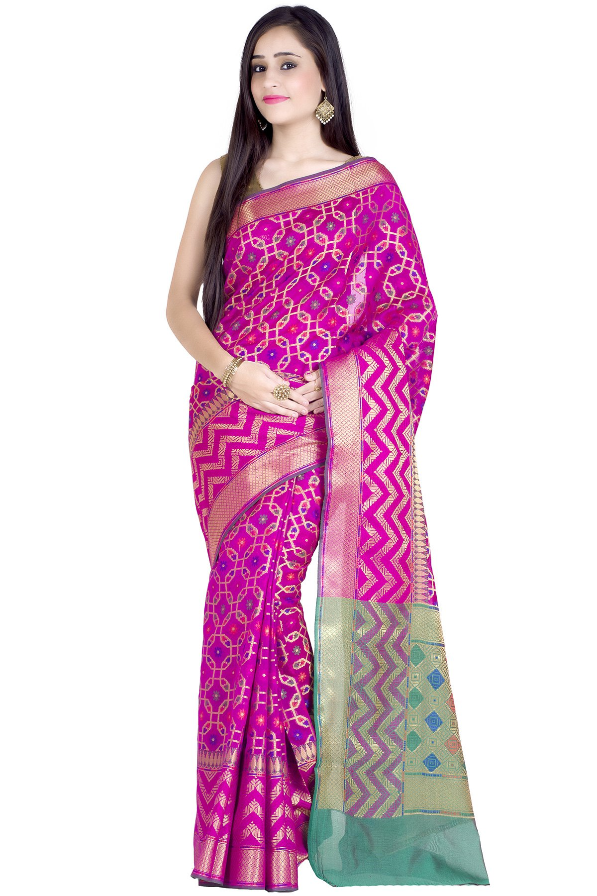Chandrakala Women's Magenta Cotton Silk Banarasi Saree(1242MAG)