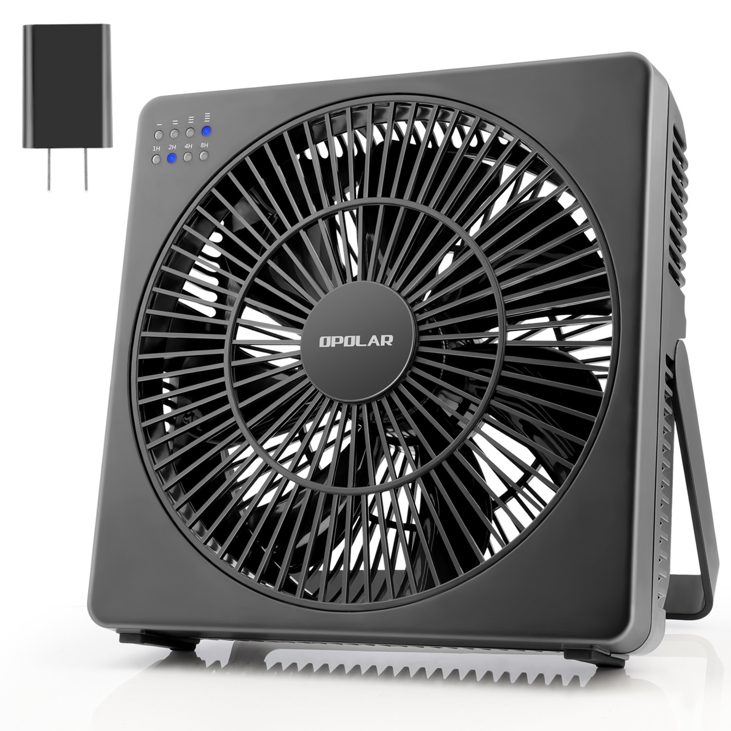OPOLAR 8 Inch Desk Fan(Included Adapter), USB Operated, 4 Speeds+Natural Wind, Timer, Quiet Operation, Seven Blades, Adjustable Angle, Desktop Personal Cooling Box Fan for Office, Living Room, Bedroom