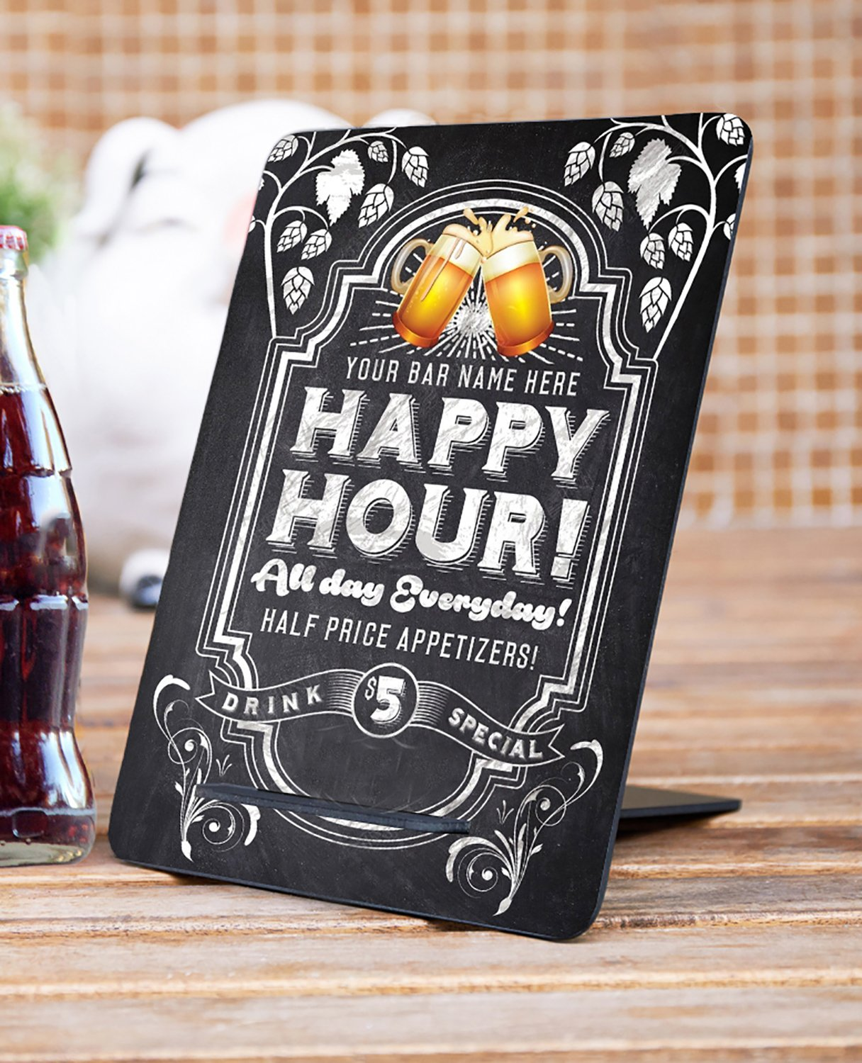 officematters 9.4 x 7 inch Rectangle Tabletop Chalkboard with Trestle, Wood Message Board Signs for Party Wedding Home Decor