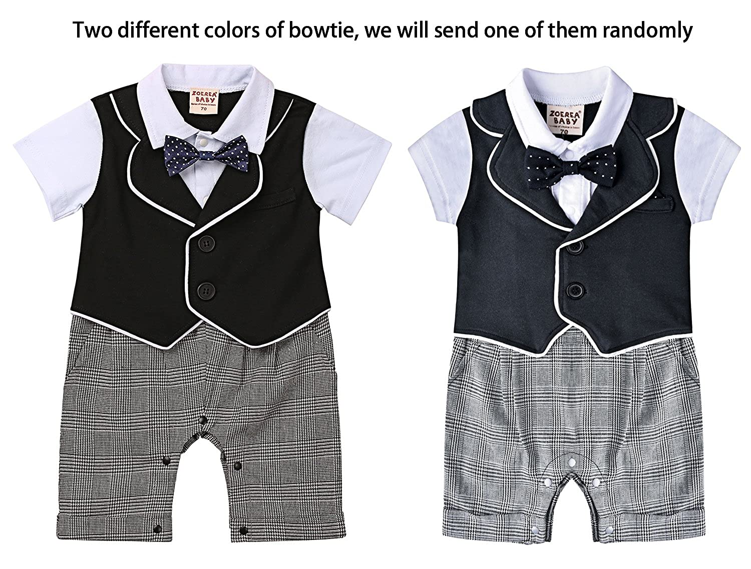 b4832a5f9 ZOEREA Baby Boys Rompers One Piece Short Sleeve Bowtie Christening ...