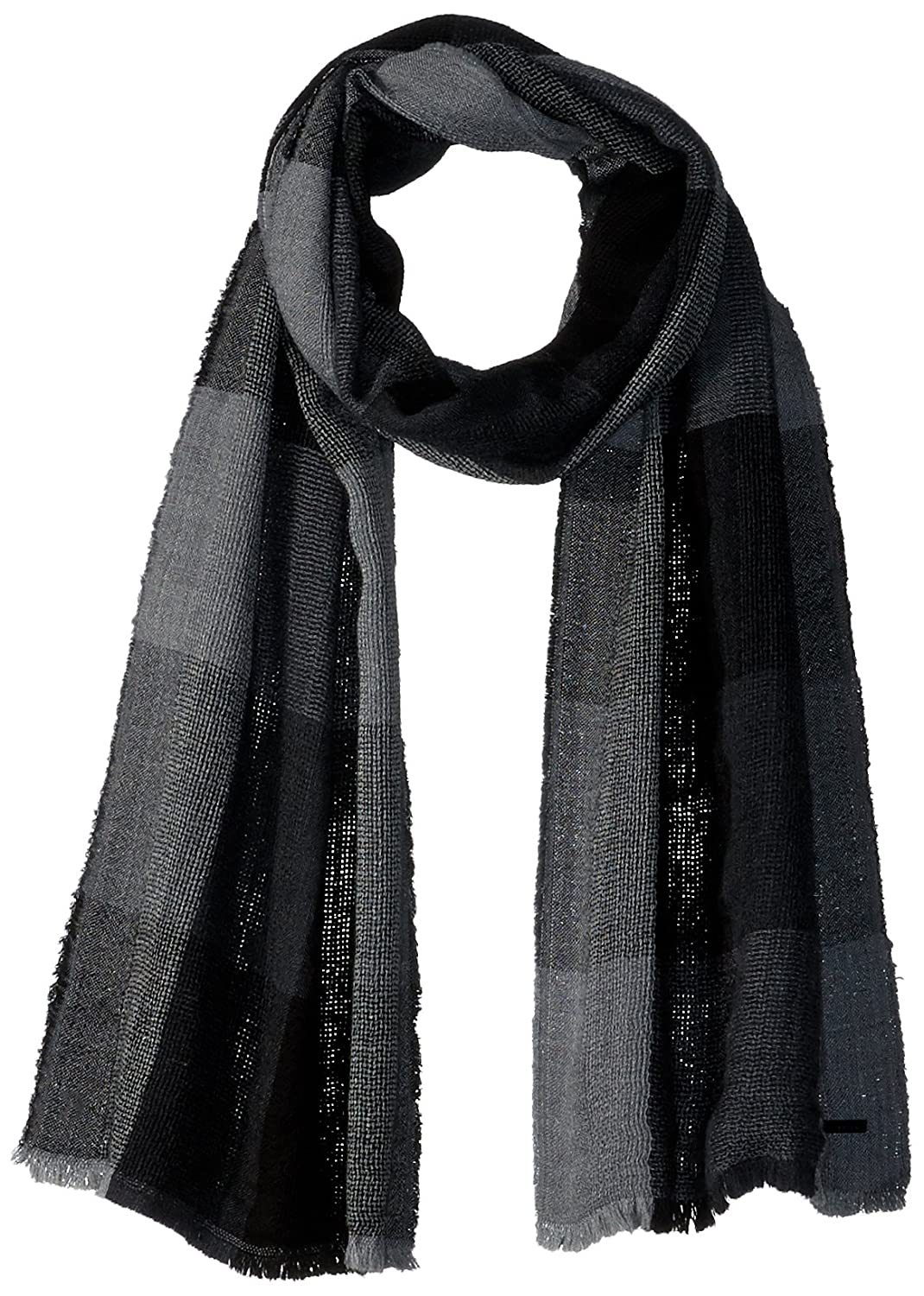 Calvin Klein Men's Double Open Weave Plaid Scarf Accessory Charcoal One Size HKC63503