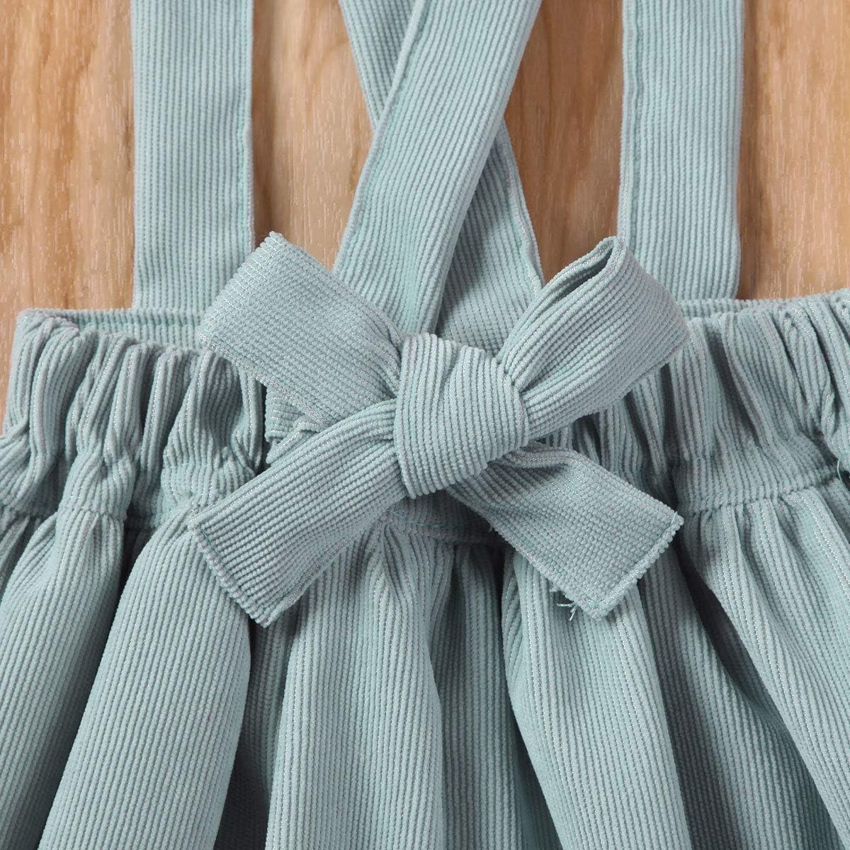 Specialcal Baby Girls Velvet Suspender Skirt Infant Toddler Ruffled Casual Strap Sundress Summer Outfit Clothes