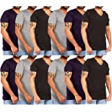 JOTW 12 Pack Of Men's Cotton Colored V-Neck T-Shirts - Available In Small To XXLarge