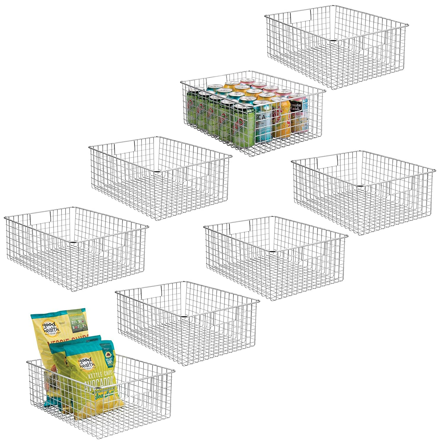 mDesign Farmhouse Decor Metal Wire Food Organizer Storage Bin Baskets with Handles for Kitchen Cabinets, Pantry, Bathroom, Laundry Room, Closets, Garage - 8 Pack - Chrome