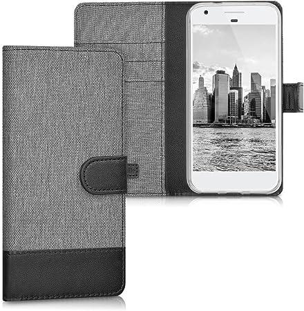 Kwmobile Hülle Kompatibel Mit Google Pixel Kunstleder Wallet Case Mit Kartenfächern Stand In Grau Schwarz Elektronik