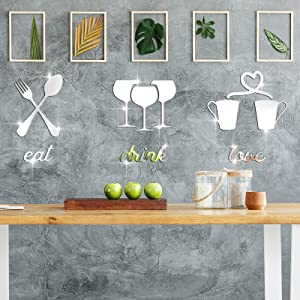 Kitchen Logo Mirror Wall Stickers, Fork Spoon Wine Cup Teacup 3D Acrylic Mirror Decal, Eat Drink Love Sign DIY Mirror Decor, Kitchen Logo Removable Mural Stickers for Restaurant Living Room Cafe Bar