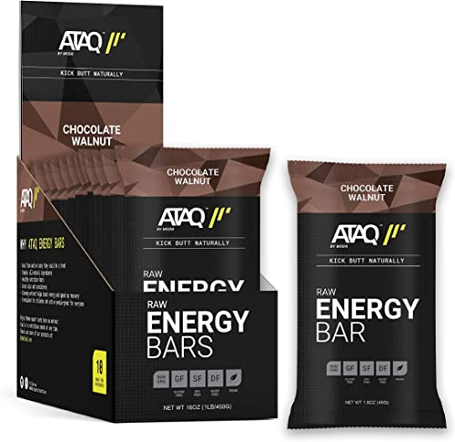 ATAQ Plant Based Raw Energy Bars, Chocolate Walnut, with Adaptogens, 1.6oz Bars, 10 Count