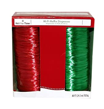 80-Ft. Raffia Dispenser Ribbon (Red/Green)