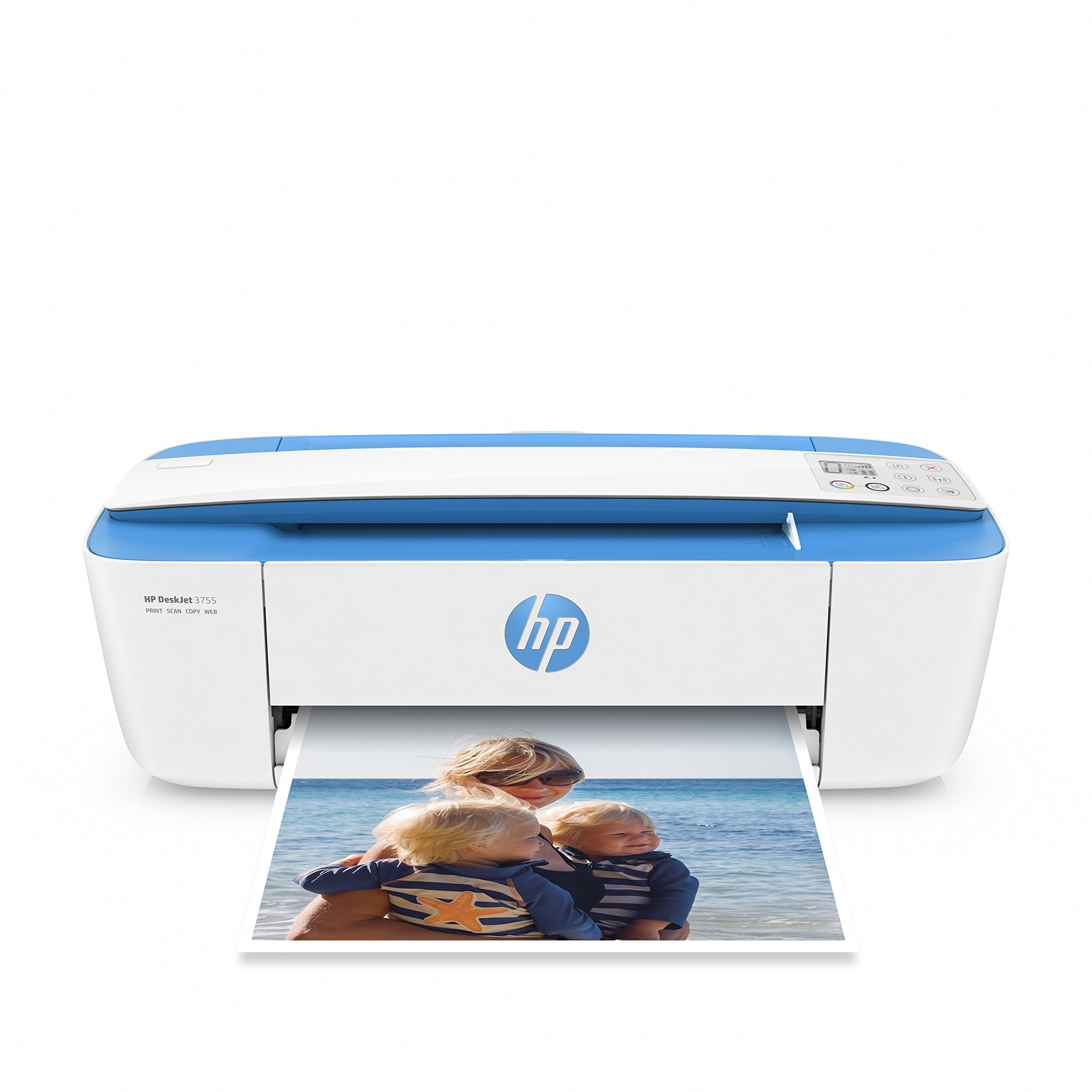 HP DeskJet 3755 Compact All-in-One Wireless Printer with Mobile Printing, HP Instant Ink & Amazon Dash Replenishment ready - Blue Accent (J9V90A)