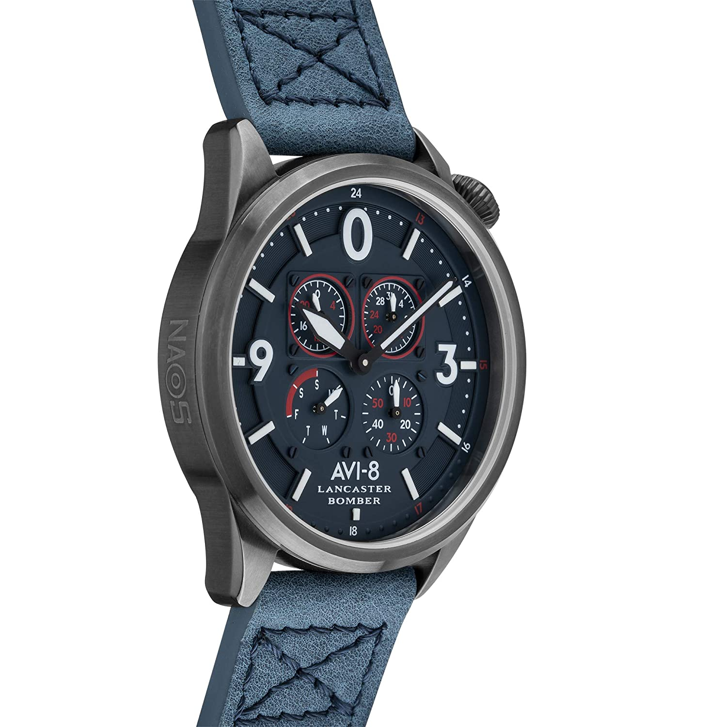Amazon.com: AVI-8 Mens Lancaster Bomber Stainless Steel Japanese-Quartz Leather Strap, Blue, 22 Casual Watch (Model: AV-4050-06: Watches