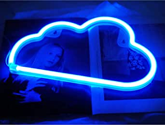 Blue Cloud Neon Light, Cute Neon Cloud Sign, Battery or USB Powered Night Light as Wall Decor for Kids Room, Bedroom, Festival, Party (Blue, Cloud)