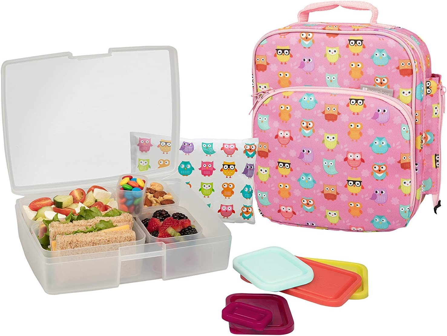 Bentology Lunch Bag and Box Set for Girls, 9 Pieces Total - Kids Insulated Lunchbox Tote, Bento Box, 5 Containers and Ice Pack - Owl