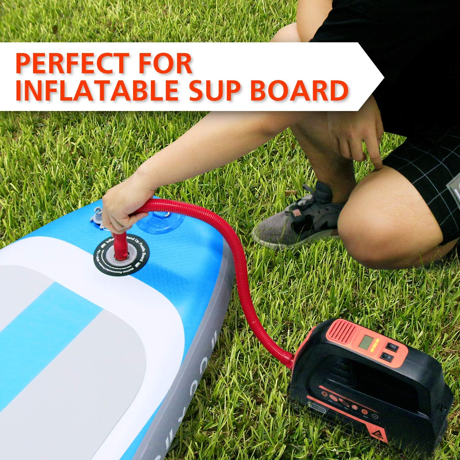 Tent Great for Inflatable Stand Up Paddle Boards Air Mattresses and Tyre Water Sports Float Leader Accessories SUP Electric High Air Pump Vehicle-Mounted Dual Use 12V DC Car Connector Kayaks