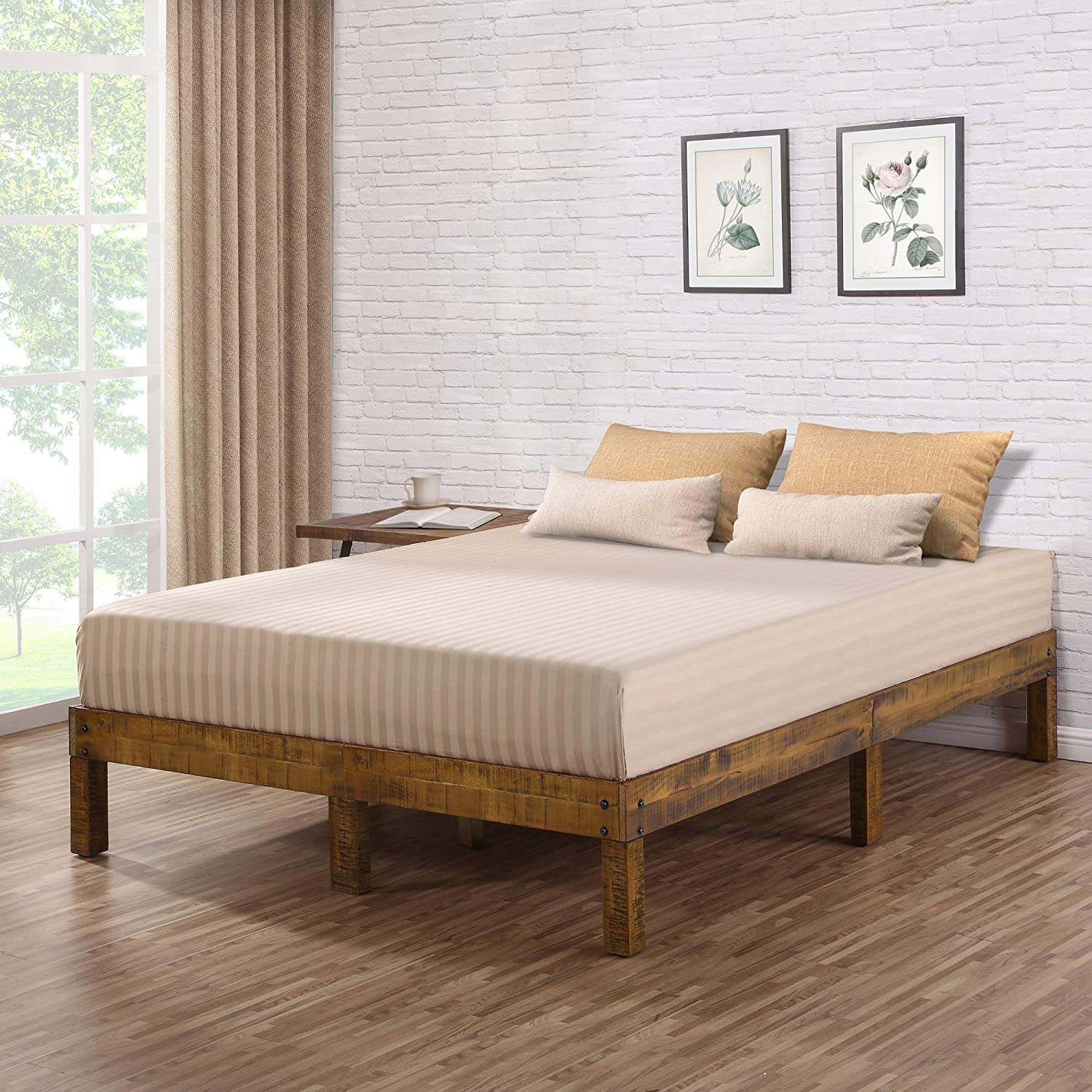Ecos Living 14 Inch High Rustic Solid Wood Platform Bed with Natural Finish No Box Spring No Squeak, Brown, Full