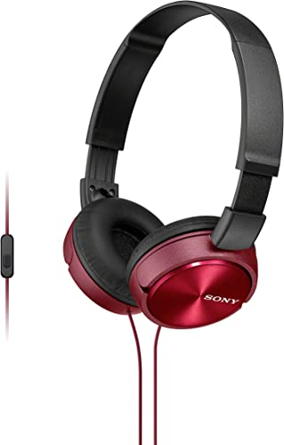 Sony Foldable Headphones with Smartphone Mic and Control – Metallic Red