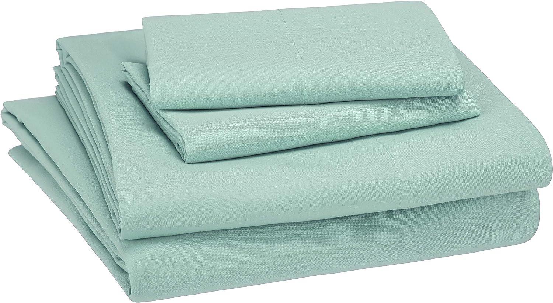 AmazonBasics Kid's Sheet Set - Soft, Easy-Wash Microfiber - Full, Light Jade Green