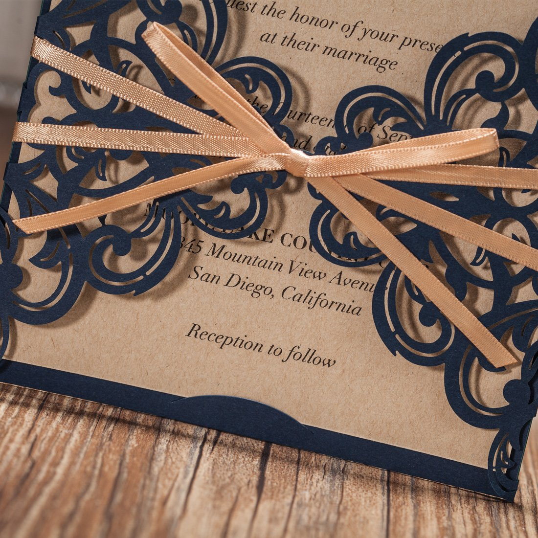 Best Paper Weight For Wedding Invitations: Wishmade Navy Blue Rustic Square Laser Cut Wedding