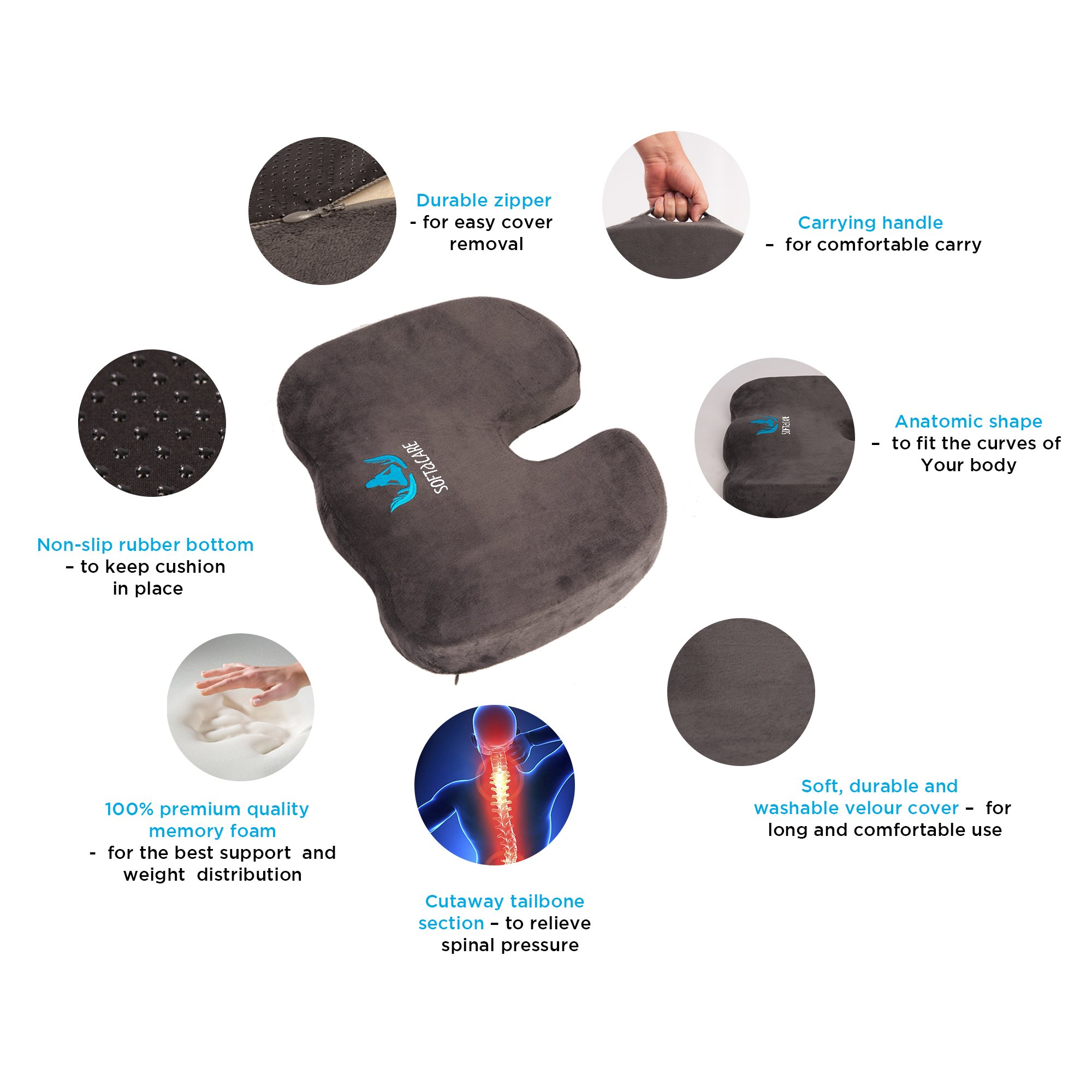 SOFTaCARE Seat Cushion Coccyx Orthopedic Memory Foam and Lumbar Support Pillow, Set of 2, Dark Gray (Grey, 2018 Design) by SOFTaCARE (Image #3)
