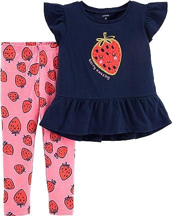 2373e4c4b536a Amazon.com: Carter's Baby Girls Berry Amazing Strawberry Leggings Set:  Clothing