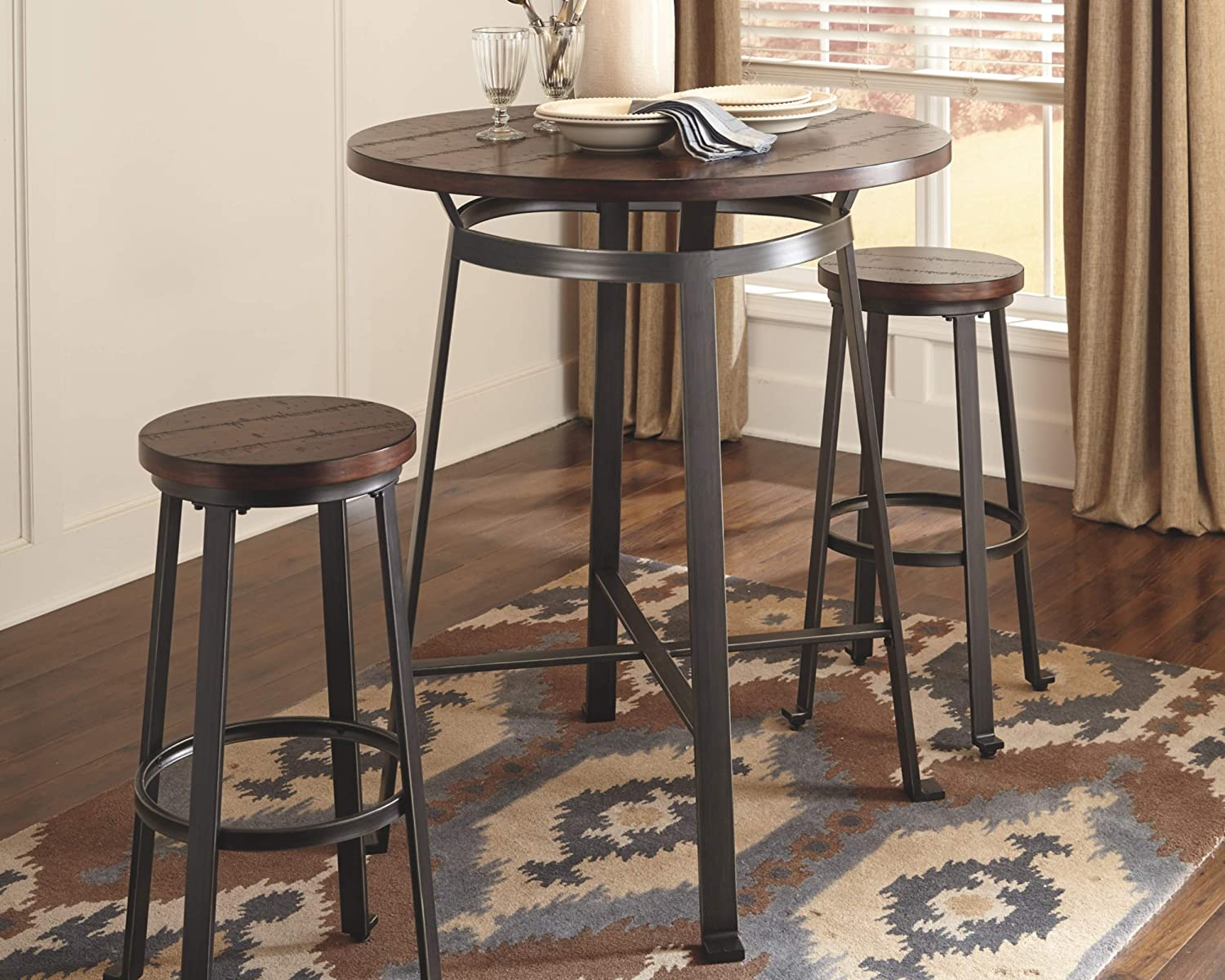 Ashley Furniture Signature Design – Challiman Dining Room Bar Table – Pub Height – Round – Rustic Brown