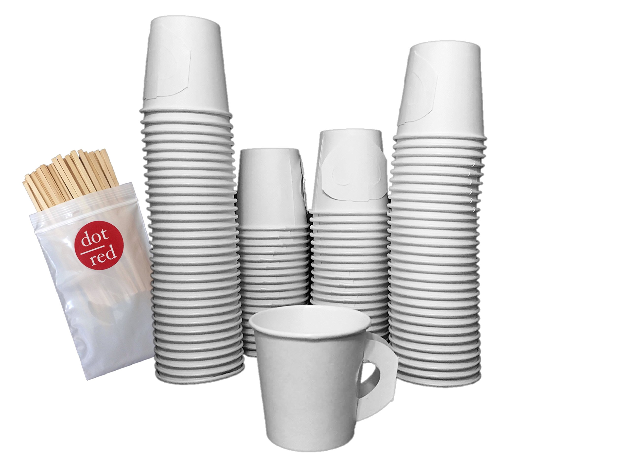 Dot Red - (100 Pack Each) Solo 4 oz. Espresso Cup with Handle (no sleeves needed!) - Leak Resistant Paper Hot Cup 374HW-2050, Dot Red 5.5'' Wood Stirrers - Solo Coffee Cup Bundle (100 Pack)