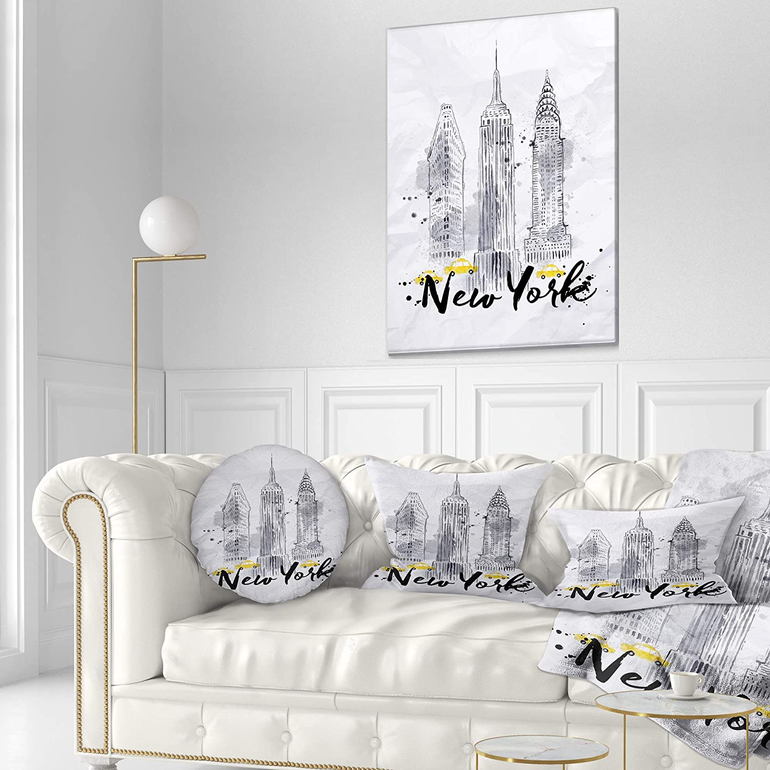 Sofa Throw Pillow 16 Designart CU7600-16-16-C New York Buildings Watercolor Cityscape Round Cushion Cover for Living Room