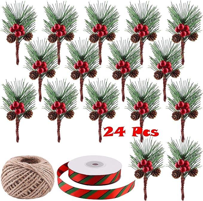 10 Pezzi Creare Unatmosfera Festiva Milnnare 10pcs Piante Artificiali Rami di Aghi di Pino Fai-da-Te Decorazioni per Feste per Feste in Giardino Buon Natale Regali di Natale