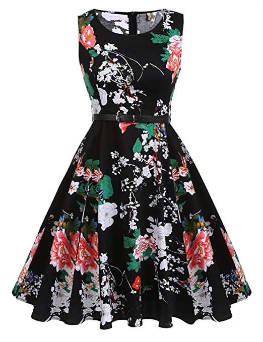 What Did Women Wear in the 1950s? ACEVOG Vintage 1950s Floral Spring Garden Party Picnic Dress Party Cocktail Dress $32.99 AT vintagedancer.com