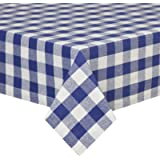 VEEYOO 60 x 102 inch (152 x 259 cm) Rectangular 100% Cotton Tablecloth Gingham Check for Home Kitchen or Out Door Use, Navy & White