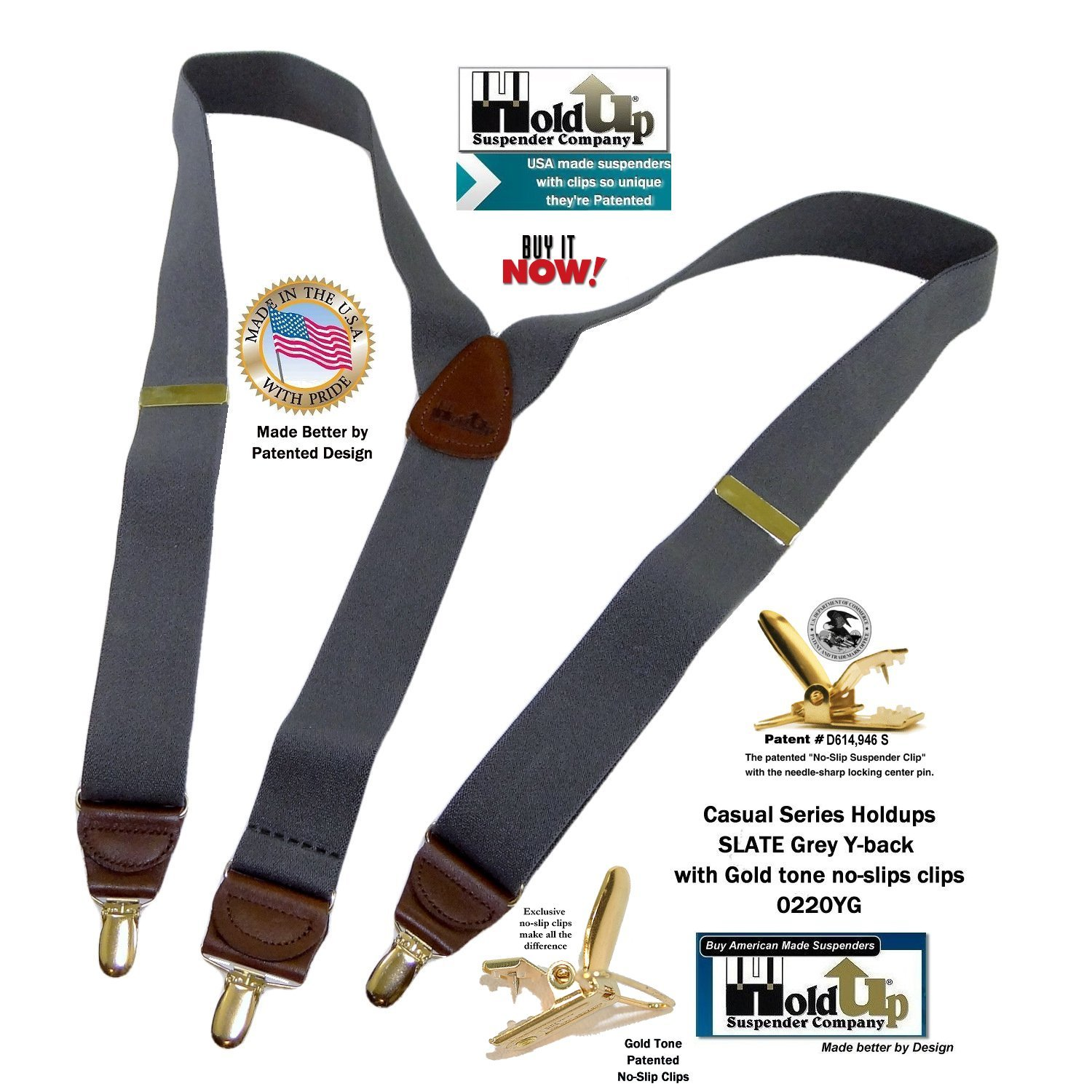 Holdup Suspender Company Slate Grey Men's Y-back Clip-on Suspenders in 1 1/2'' width featuring Patented No-slip Gold-Tone Clips by Hold-Up Suspender Co. (Image #5)