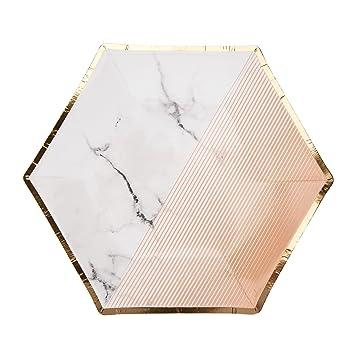 Neviti 772843 Peach Color Block Marble 7u0026quot; Paper Plates  sc 1 st  Amazon.com & Amazon.com: Neviti 772843 Peach Color Block Marble 7