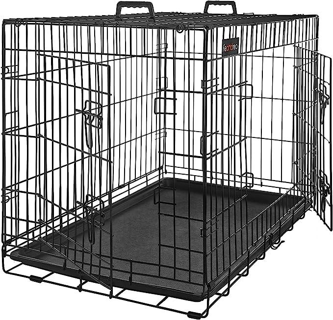FEANDREA Jaula para Perros, Jaula para Mascotas con 2 Puertas, 122 x 74,5 x 80,5 cm, Negro PPD48BK