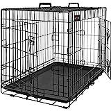 FEANDREA Cage pour Chiens, 2 Portes, Pliable, Transportable, avec Poignées et Plateau, Format XL, 91 x 56 x 64 cm Noir PPD36H
