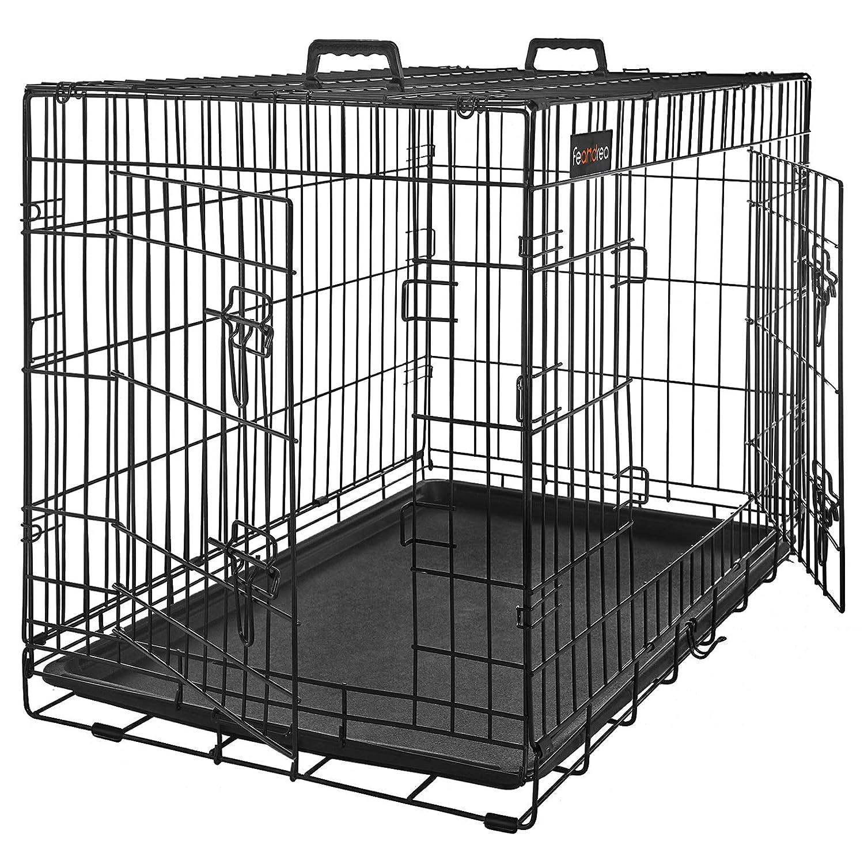 FEANDREA Jaula para Perros, Jaula para Mascotas con 2 Puertas, 122 ...