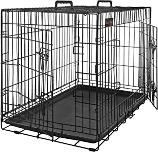 Songmics L Metal Dog Puppy cage Foldable Transport Cage Pet Carrier Transport Box 2 Doors Crate with Tray black 36'' PPD36H