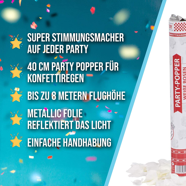 40 cm Buntes Konfetti Party Factory 1 Party Popper Geburtstag oder Silvester bis 8 m Effekth/öhe Konfettiregen f/ür Hochzeit