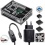Für Raspberry Pi 3 b+ Gehäuse mit Netzteil mit Ein/aus Schalter + Lüfter + 3X Aluminium Kühlkörper kompatible with Raspberry Pi 3 2 Model b+ Case (Pi Board Nicht Enthalten)