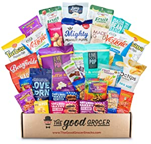 ALL NATURAL Healthy Snacks Care Package (30 Ct): Bars, Cookies, Puffs, Crispy Fruit, Trail Mix, Gift Box, Office Assortment Variety Pack, College Student Military Care Package, Gift Basket