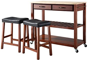 Amazon.com: Crosley Muebles Carrito de cocina portátil con ...