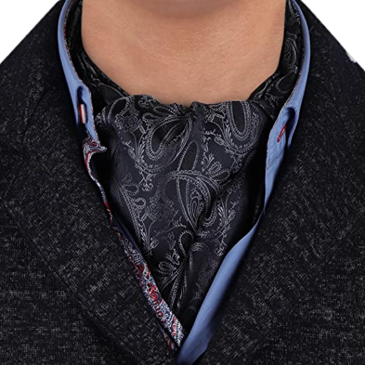 Epoint Black Grey Paisley Silk Ascot Tie England Gentlemen Boxing Day Cravat