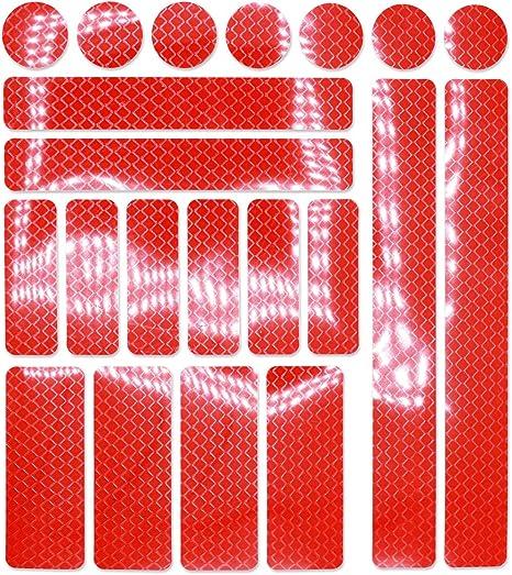 Rosso 27 mm Set 10 adesivi catarifrangenti
