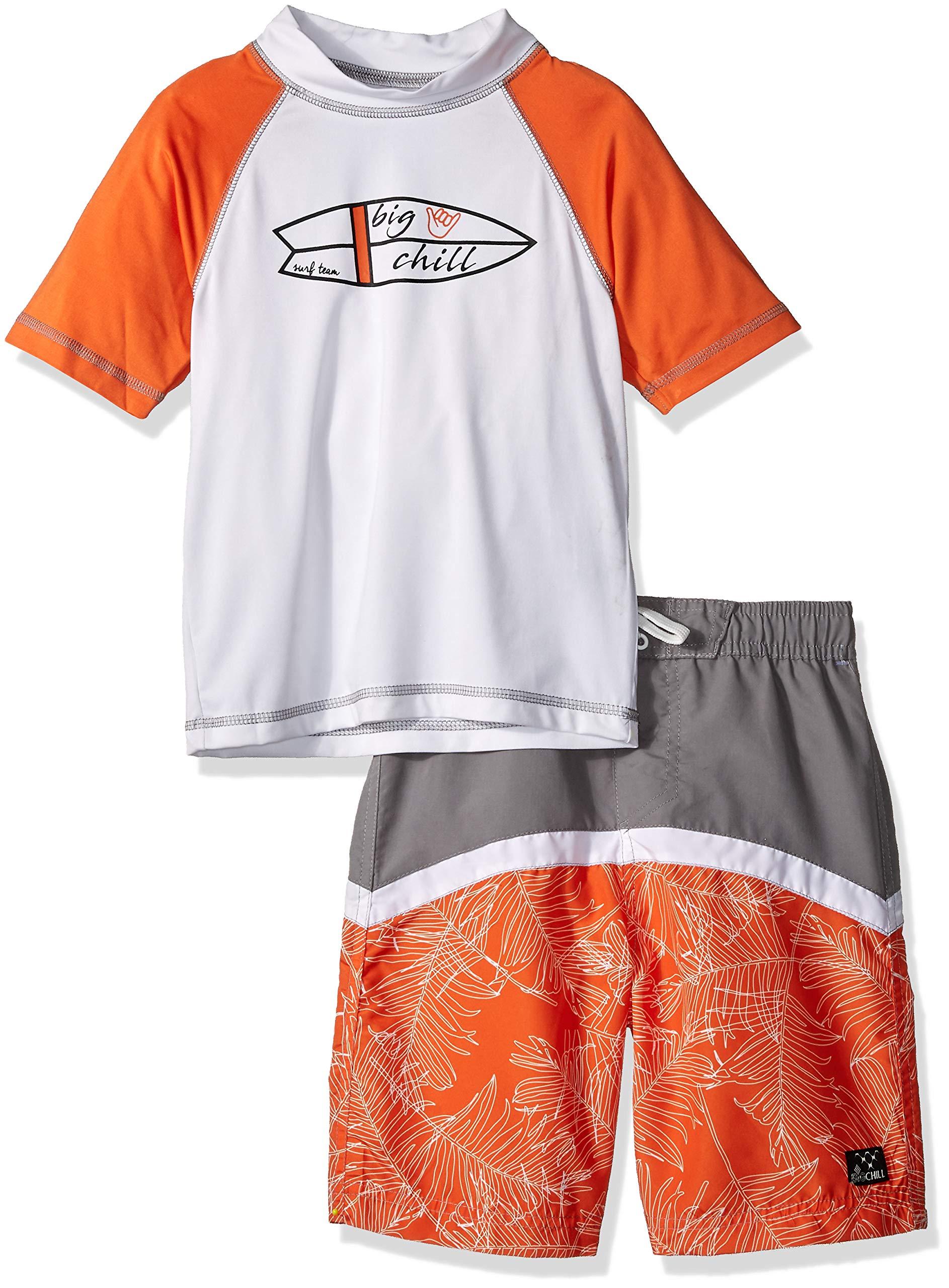 Big Chill Little Boys' Short Sleeve Rashguard Sets, surf Grey, 7