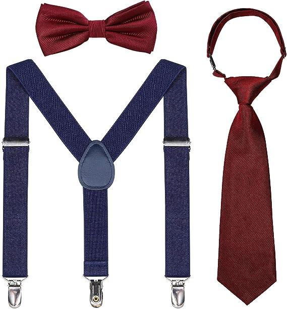 Kids Suspender Bowtie Necktie Sets Adjustable Elastic Y Back Suspender Set for Boys Girls