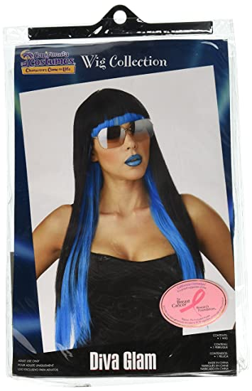 California Costumes Womens Diva Glam Wig, Black/Blue, One Size