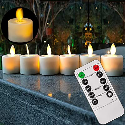 Led Electric Flameless Flickering Battery Operated Tea Lights Candles with RF Remote and Timer: Home Improvement