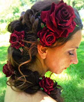 Amazon Com Dark Red Velvet Rose Hair Flower Clip And Pin Beauty