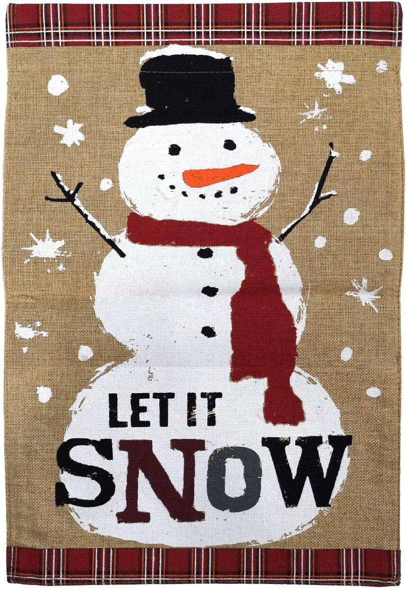 "Texupday Let it Snow Red Scarf Snowman Winter Double Sided Burlap Garden Flag Outdoor Yard Flag 12"" x 18"""