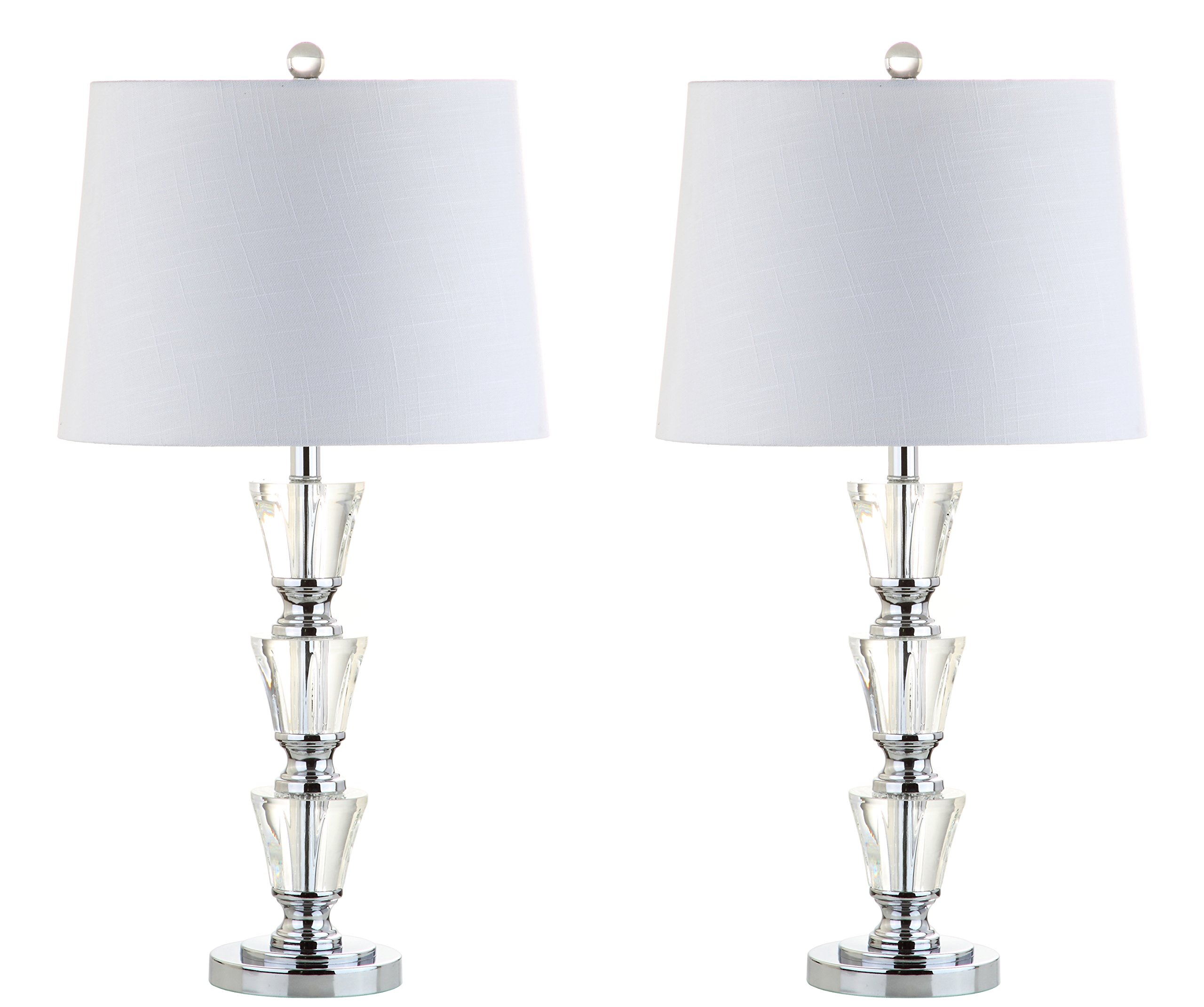 JONATHAN Y JYL2044A-SET2 Layla 27'' Crystal Table Lamp (Set of 2) Clear with White Shade